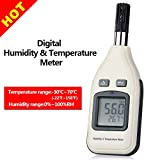 Digital Humidity and Temperature Meter, GoerTek Thermometer Hygrometer monitor for Indoor and Outdoor, Min/Max Hold, Hand-held LCD Backlight with one 9V Battery Included
