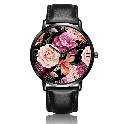 Canisto Unique Watch, Blossom Watch Black Leather Band Watch for Ladies Cute Watches for Couples Kids Girls Personalized Classic Fashion Watch - Black Dial Blooming ()