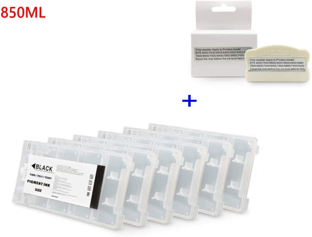 Chip Resetter 6colors//Set T5491-T5496 Empty Refillable Ink Cartridge with Chip for Epson Stylus Pro 10000 10600 Printer