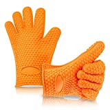 Generic Heat Resistant Oven Mitts Silicone BBQ Barbeque Gloves (1 Pair) Orange Kitchen Grilling Gloves Set - Great for Use in Kitchen Handling All High Temperature