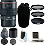 Canon EF 100mm F/2.8L IS USM Macro Lens w/ 3-Piece 67mm Fliter Kit Bundle