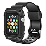 Apple Watch Band 42mm, Wolait Rugged Protective Frame iWatch Case with Band Strap for Apple Watch Series 3/2/1 (42mm Black/Black)