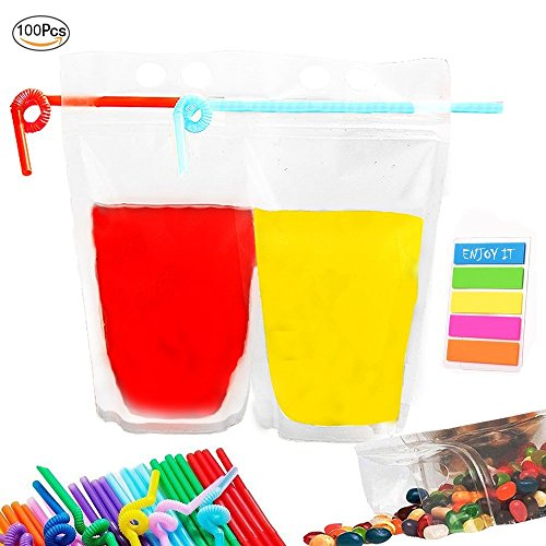 Take-Out Beverage Bags 100 PCS | Plastic Drink Pouches Bags | Frosted Zipper Stand-up Reclosable Heat-Proof Bag | Hand-held Containers for Rum, Snack, Water, Wine