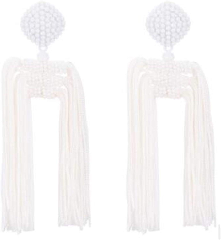 Sunwd Mujer Pendientes, Long Dangle Earrings For Women Tassel Statement Earrings NEW Big Earings Beaded Bohemian Fashion Jewelry Summer Jewellery