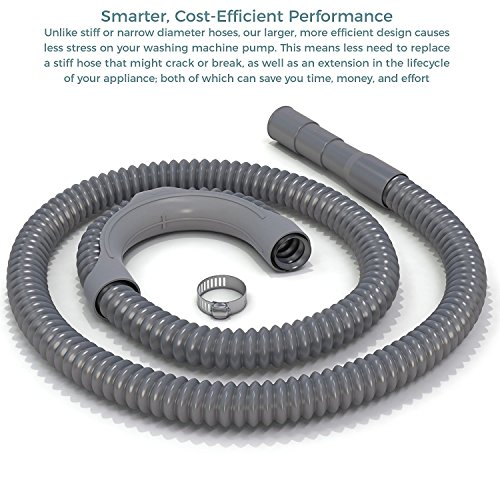 10 Ft. Premium Replacement Washing Machine Drain Hose Heavy-Duty Water Support | Flexible, Corrugated Design | Quick & Easy Installation | Incl. Steel Clamp