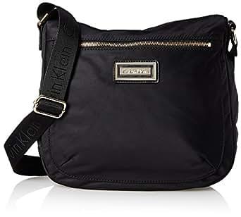 Calvin Klein Women's Belfast Nylon Messenger Bag, Black