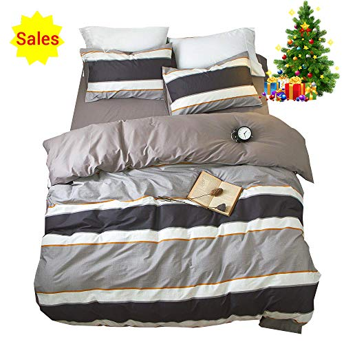 OROA Cotton Striped Boys Twin Duvet Cover Sets Multi Color 3 Piece Bedding Sets Twin for Teen Man Kids together with 2 Pillow Shams (Twin, trend 1) Black Friday & Cyber Monday 2018