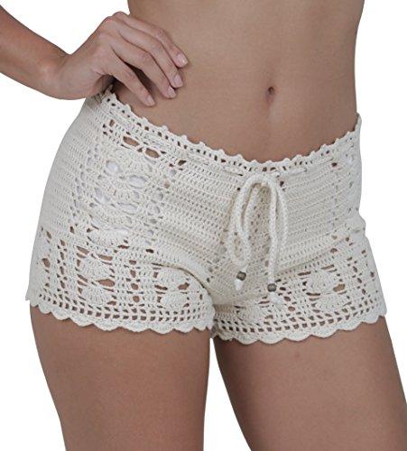 M&B USA Casual Shorts Cotton Crochet Lace Shorts Beach Summer Miniskirts (Small, Beige)