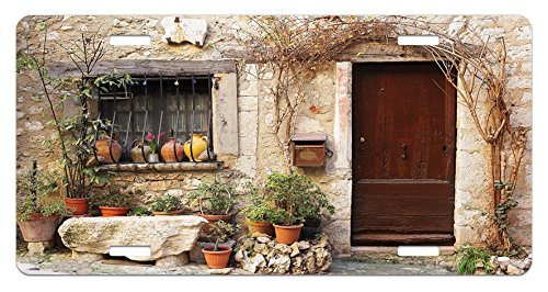 Lunarable Shutters License Plate, Flowerpot Plants Front Yard French Hilltop Village Saint-Paul De Vence Heritage, High Gloss Aluminum Novelty Plate, 5.88 L X 11.88 W Inches, Beige Green