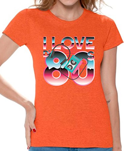 Awkward Styles 80s Shirts 80s Clothes for Women 80s Disco Theme I Love The 80s Orange 2XL (80's Clothing Disco)