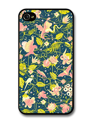 Grunge Tropical Bird Design with Cool Floral Print case for iPhone 4 4S