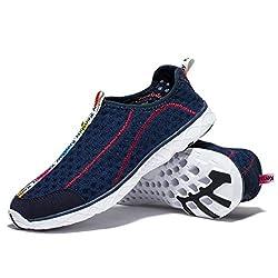 WOTTE Men's Mesh Quick Drying Aqua Slip On Water Shoes Breathable Walking Shoes (7 D(M) US, Dark Blue)