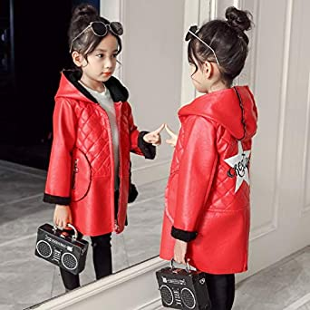 MV Childrens Clothing Spring Autumn Girls Coat Velvet Hooded Windbreaker Jackets