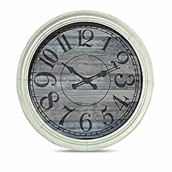 The Oversized Classic Kitchen Wall Clock, Rustic Gray Wood-grained Face, White Beveled Frame, Analog, Approx 3 Ft Diameter, Requires 1 AA Battery (Not Included), By Whole House Worlds
