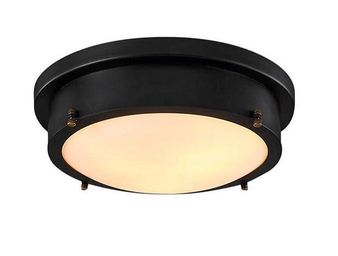 La Industria lámpara Industrial Lámpara Vintage redondas Negro LED ...