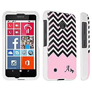 DuroCase ? Nokia Lumia 530 Hard Case White - (Black Pink White Chevron A)