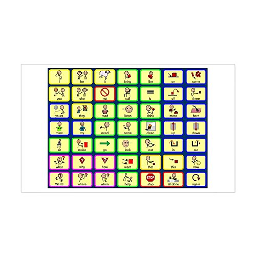 CafePress 7 by 7 Core Word Communication Board - AAC Sticker Rectangle Bumper Sticker Car Decal