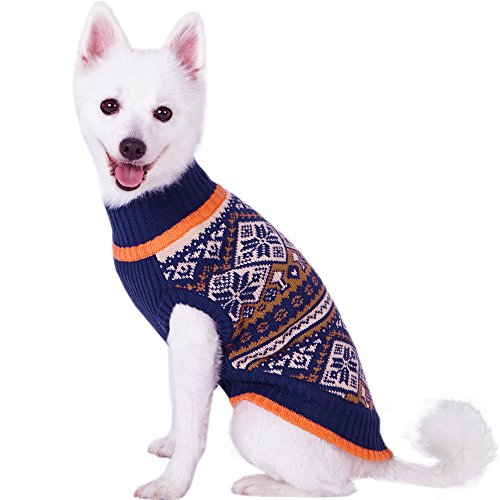 "Blueberry Pet Nordic Pattern Inspired Fair Isle Navy Blue Snowflakes Dog Sweater, Back Length 14"", Pack of 1 Clothes for Dogs"