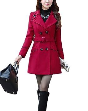 Abrigo Elegante Invierno Parka Mujer Manga Botonadura Lana Yonglan 1tq56nUwx