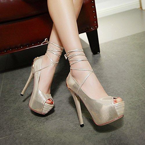 Minivog Femmes Stiletto Haut Talon Plate-forme Pompe Chaussures Or