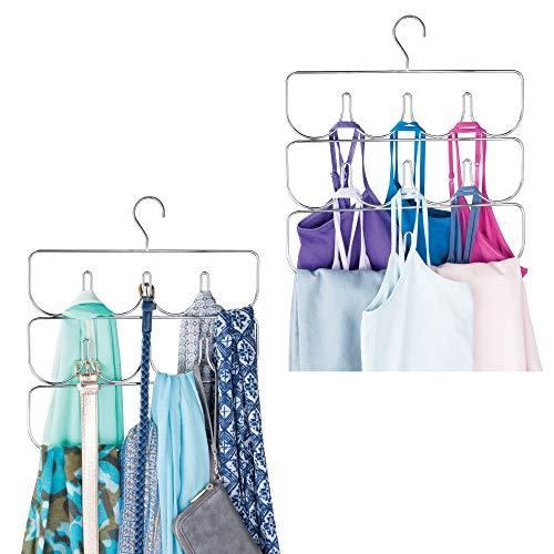 mDesign Metal Closet Rod Hanging Accessory Storage Organizer Rack for Womens Leggings, Yoga Pants, Scarves, Ties, Camisoles, Tank Tops - Snag Free Design, 2 Pack - Chrome