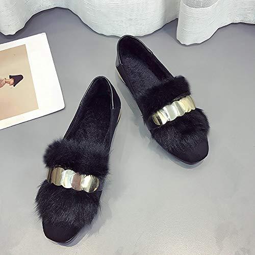 Femme Plates Paillettes Coton Chaussures Mocassins Porter Moika Noir Ballerines En Pédale Bateau Fourrure qagEY