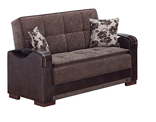 BEYAN Hartford Collection Upholstered Convertible Love Seat with Storage Space and Includes 2 Pillows, Dark (Reclining Sleeper)