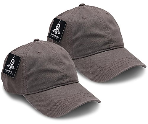 Low Profile Style Cap (2 Pack Low Crown Unconstructed Basic Washed Twill Baseball Cap for Men or Women)