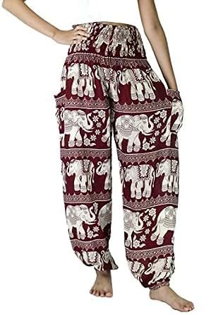 NaLuck Women's Boho Hippie Elephant Jumpsuit Rayon Smocked Waist Yoga Baggy Harem Pants PJ16-Crimson#2
