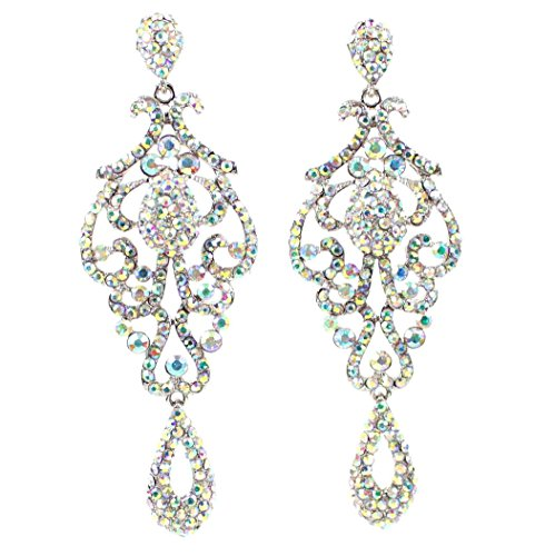 JANEFASHIONS LARGE PAGEANT CRYSTAL RHINESTONE CHANDELIER DANGLE EARRINGS PROM E2090AB AB WHITE
