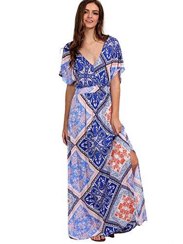 Milumia Women's Boho Deep V Neck Floral Chiffon Wrap Split Long Dress (Small, Blue-1) (Chiffon Floral Wrap)