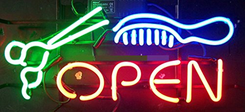 Salon Barber Open Neon Sign 17''x14''Inches Bright Neon Light for Business Beauty Spa Salon Shop Store by Handa (Image #1)