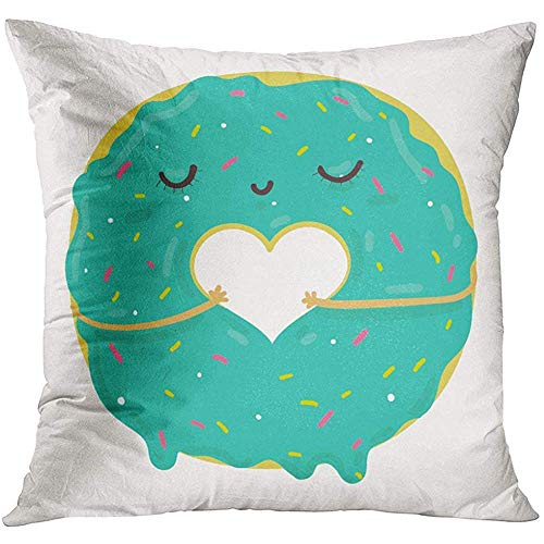 NEWcolorSofa Cushion Funny of Cute Blue Icing Cartoon Donut with Heart and Face Valentine's Day Party Prints and Books Food Decorative Pillowcase
