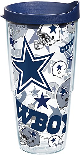 Tervis 1238941 Nfl Dallas Cowboys All Over Tumbler With Lid, 24 oz, Clear ()