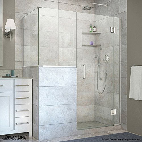 well-wreapped DreamLine E124303430-01 Unidoor-X Style M4 60 in. W x 30.375 in. D x 72 in. H Hinged Shower Enclosure, Chrome Hardware