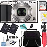 Nikon A900 20MP Longest Slim Zoom COOLPIX WiFi Digital Camera with 4K UHD Video 35x Telephoto NIKKOR Zoom Lens + 64GB Dual Battery Accessory Bundle (Silver) + Liquid Deals cloth