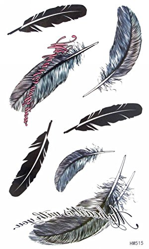 MapofBeauty Feather Temporary Waterproof Tattoos Sticker(2 pcs/lot)