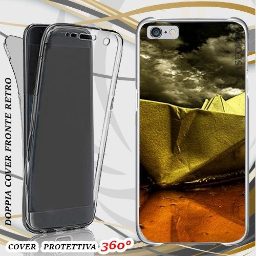 CUSTODIA COVER CASE BARCHETTA DI CARTA PER IPHONE 6 PLUS FRONT BACK