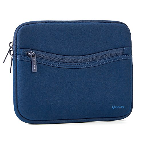 iPad Mini 4 sleeve, Evecase Smile Padded Neoprene Zipper Carrying Sleeve Case Bag with Front Accessory Pocket for iPad Mini 4, 3, 2 / Android 7 - 8 inch Tablet Device - Navy Blue