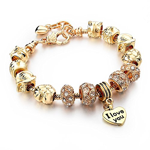 Hers Charm Bracelet Gold Plated Jewelry Snake Chain For Teen Girls Party Gift (Gold Pumpkin Car Little Child)