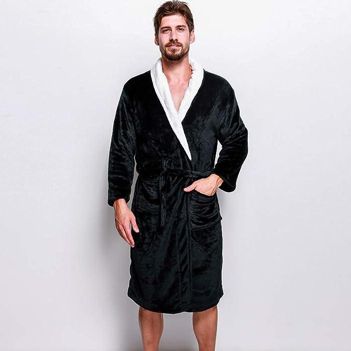c318f09478 Men s Plush Bathrobe White Shawl Collar Robe Solid Color Flannel Fleece Soft  Warm Lightweight Spa Bath Robe. Back. Double-tap to zoom