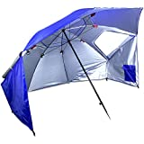 2-in-1 7-foot Sun Shelter and Beach Umbrella with Handy Carrying Case by Sol Coastal (Blue) For Sale