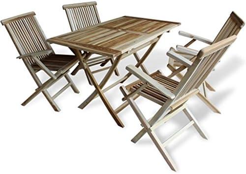 LD Teca 5tlg. Sillas para Madera Muebles de jardín Essgruppe Sillas Plegables: Amazon.es: Jardín