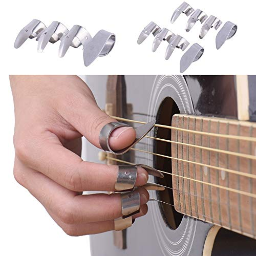Guitar Picks by Ammzzoo111, 1 Thumb with 3 Finger Metal Nail Picks Open Design for Banjo Ukulele Guitar - Silver