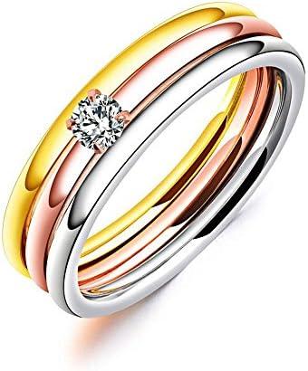 (ナナファスト) 指輪 三色 三連 チタン CZダイヤ シンプル 細身 リング レディース ジュエリー アクセサリー サイズ18号