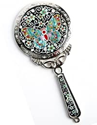 Silver J Handheld hand mirror, mother of pearl gift, Jade butterfly
