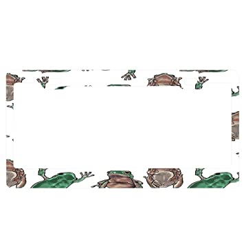 FROGS FROG ANIMAL Metal License Plate Frame Tag Holder Two Holes