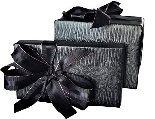 (Black and Rose Gold Grosgrain Ribbon, 1 inch Wide, 30 Yards, 10 Yards Per Roll, Double Face with Black Silk Stripe and Copper Border, for Christmas Gifts, Premium Gifts, Men's Gifts, Flower Bouquets)