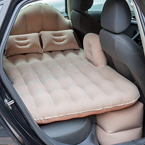 NEX Car Inflatable Mattress Camping Air Bed Car Mobile Cushion Inflation Back Seat Extended Couch with Motor Pump, Two Pillows for Sleep Rest and Travel