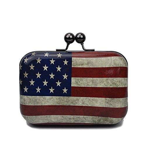 de paquet Ladies soirée une embrayage bandoulière sac boîte Print verni F en personnalisé cuir bandoulière qTTBOt